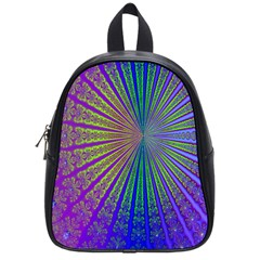 Blue Fractal That Looks Like A Starburst School Bags (small)  by Simbadda