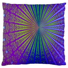 Blue Fractal That Looks Like A Starburst Large Cushion Case (two Sides) by Simbadda