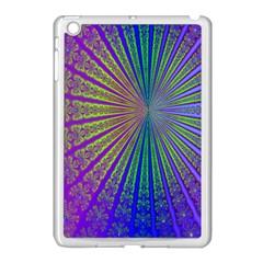 Blue Fractal That Looks Like A Starburst Apple Ipad Mini Case (white) by Simbadda