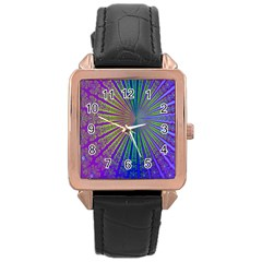 Blue Fractal That Looks Like A Starburst Rose Gold Leather Watch  by Simbadda