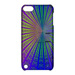 Blue Fractal That Looks Like A Starburst Apple Ipod Touch 5 Hardshell Case With Stand by Simbadda