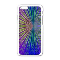 Blue Fractal That Looks Like A Starburst Apple Iphone 6/6s White Enamel Case by Simbadda
