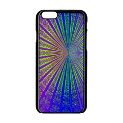Blue Fractal That Looks Like A Starburst Apple Iphone 6/6s Black Enamel Case by Simbadda