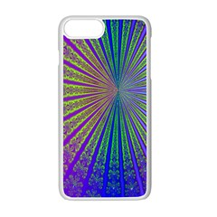 Blue Fractal That Looks Like A Starburst Apple iPhone 7 Plus White Seamless Case by Simbadda