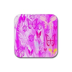 Butterfly Cut Out Pattern Colorful Colors Rubber Square Coaster (4 Pack)  by Simbadda