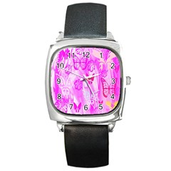 Butterfly Cut Out Pattern Colorful Colors Square Metal Watch by Simbadda