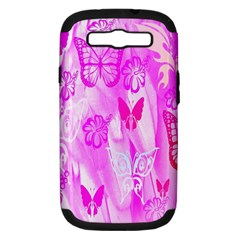 Butterfly Cut Out Pattern Colorful Colors Samsung Galaxy S Iii Hardshell Case (pc+silicone) by Simbadda