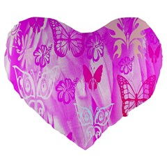 Butterfly Cut Out Pattern Colorful Colors Large 19  Premium Heart Shape Cushions by Simbadda