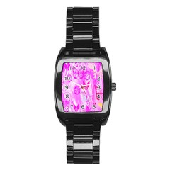 Butterfly Cut Out Pattern Colorful Colors Stainless Steel Barrel Watch by Simbadda