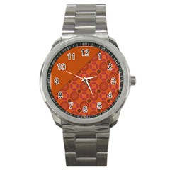 Vintage Paper Kraft Pattern Sport Metal Watch by Simbadda