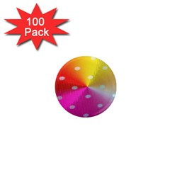 Polka Dots Pattern Colorful Colors 1  Mini Magnets (100 Pack)  by Simbadda