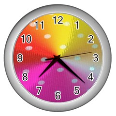 Polka Dots Pattern Colorful Colors Wall Clocks (silver)  by Simbadda