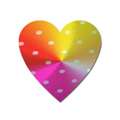 Polka Dots Pattern Colorful Colors Heart Magnet by Simbadda