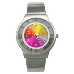 Polka Dots Pattern Colorful Colors Stainless Steel Watch by Simbadda