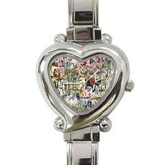 Graffiti Wall Pattern Background Heart Italian Charm Watch by Simbadda