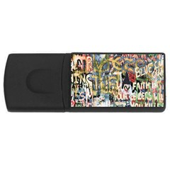 Graffiti Wall Pattern Background Usb Flash Drive Rectangular (4 Gb) by Simbadda
