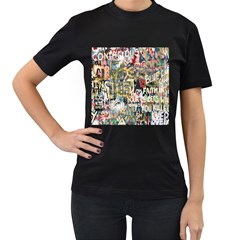 Graffiti Wall Pattern Background Women s T Shirt (black) by Simbadda