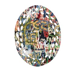 Graffiti Wall Pattern Background Ornament (oval Filigree) by Simbadda