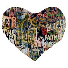 Graffiti Wall Pattern Background Large 19  Premium Heart Shape Cushions by Simbadda