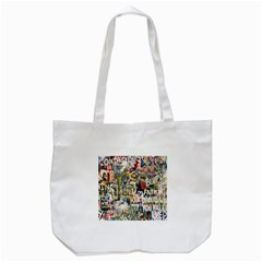 Graffiti Wall Pattern Background Tote Bag (white) by Simbadda