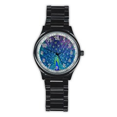 Amazing Peacock Stainless Steel Round Watch by Simbadda