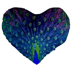 Amazing Peacock Large 19  Premium Flano Heart Shape Cushions by Simbadda