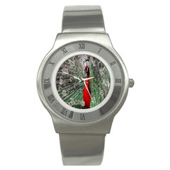 Red Peacock Stainless Steel Watch by Simbadda