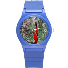 Red Peacock Round Plastic Sport Watch (s) by Simbadda