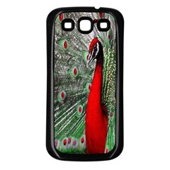 Red Peacock Samsung Galaxy S3 Back Case (black)