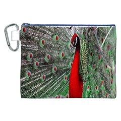 Red Peacock Canvas Cosmetic Bag (xxl) by Simbadda