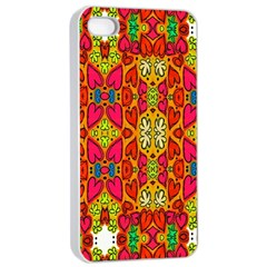 Abstract Background Design With Doodle Hearts Apple Iphone 4/4s Seamless Case (white) by Simbadda