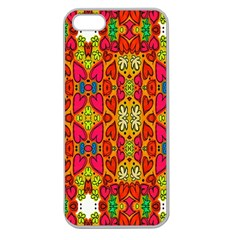 Abstract Background Design With Doodle Hearts Apple Seamless Iphone 5 Case (clear) by Simbadda