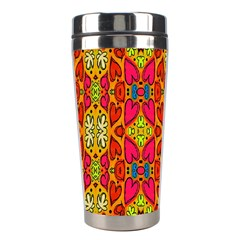 Abstract Background Design With Doodle Hearts Stainless Steel Travel Tumblers by Simbadda