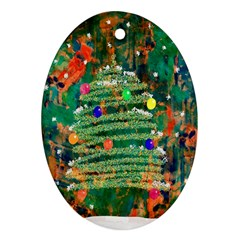 Watercolour Christmas Tree Painting Ornament (oval) by Simbadda