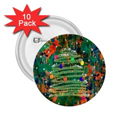 Watercolour Christmas Tree Painting 2 25  Buttons (10 Pack)  by Simbadda