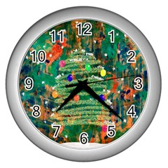 Watercolour Christmas Tree Painting Wall Clocks (silver)  by Simbadda