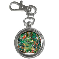 Watercolour Christmas Tree Painting Key Chain Watches by Simbadda
