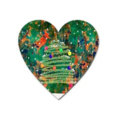 Watercolour Christmas Tree Painting Heart Magnet by Simbadda