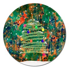 Watercolour Christmas Tree Painting Magnet 5  (round) by Simbadda
