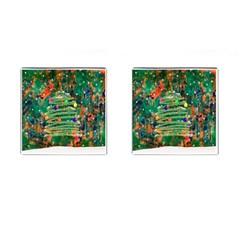 Watercolour Christmas Tree Painting Cufflinks (square) by Simbadda