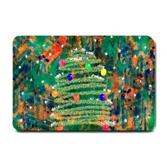 Watercolour Christmas Tree Painting Small Doormat  by Simbadda