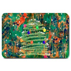 Watercolour Christmas Tree Painting Large Doormat  by Simbadda