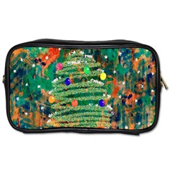 Watercolour Christmas Tree Painting Toiletries Bags 2 Side by Simbadda