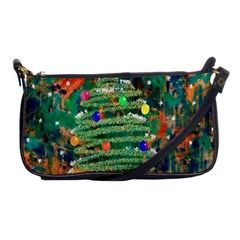 Watercolour Christmas Tree Painting Shoulder Clutch Bags by Simbadda