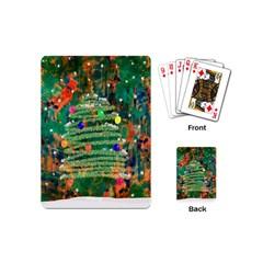 Watercolour Christmas Tree Painting Playing Cards (mini)  by Simbadda