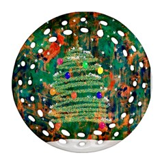 Watercolour Christmas Tree Painting Round Filigree Ornament (two Sides) by Simbadda