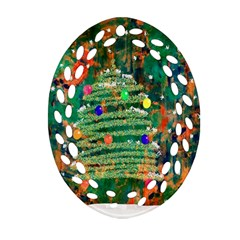 Watercolour Christmas Tree Painting Oval Filigree Ornament (two Sides) by Simbadda