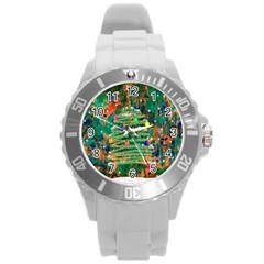 Watercolour Christmas Tree Painting Round Plastic Sport Watch (l) by Simbadda