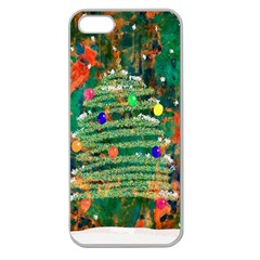 Watercolour Christmas Tree Painting Apple Seamless Iphone 5 Case (clear) by Simbadda