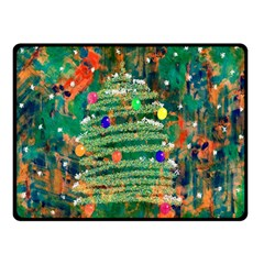Watercolour Christmas Tree Painting Double Sided Fleece Blanket (small)  by Simbadda